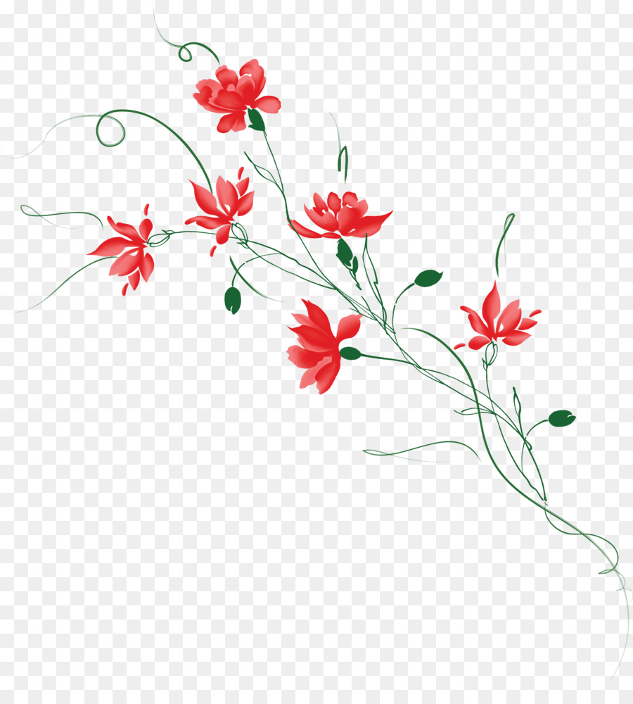 Red Watercolor Flowers Png Download 3368 3700 Free Transparent