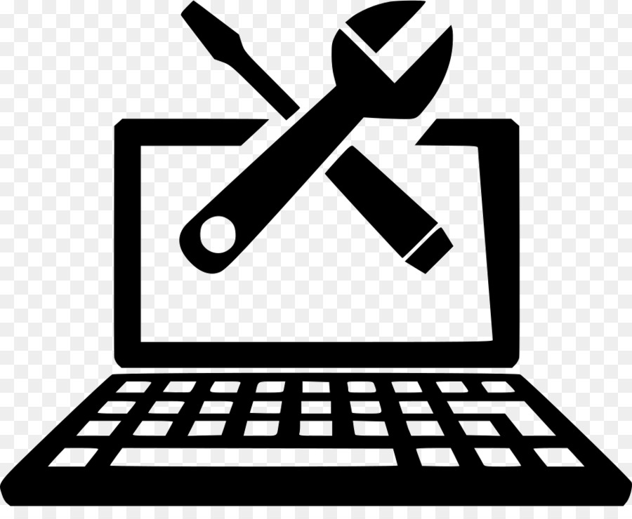 Laptop computer repair technician computer icons macbook technical support black and white