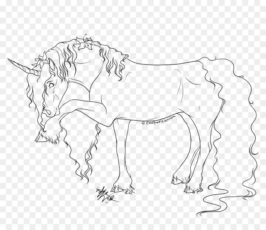Arte de línea de Dibujo de Caballo Unicornio libro para Colorear ...