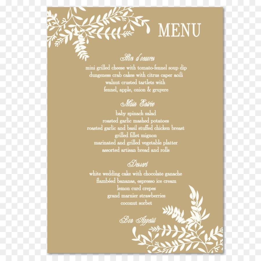 Invitación de la boda de recepción de la Boda el Matrimonio Menú ...