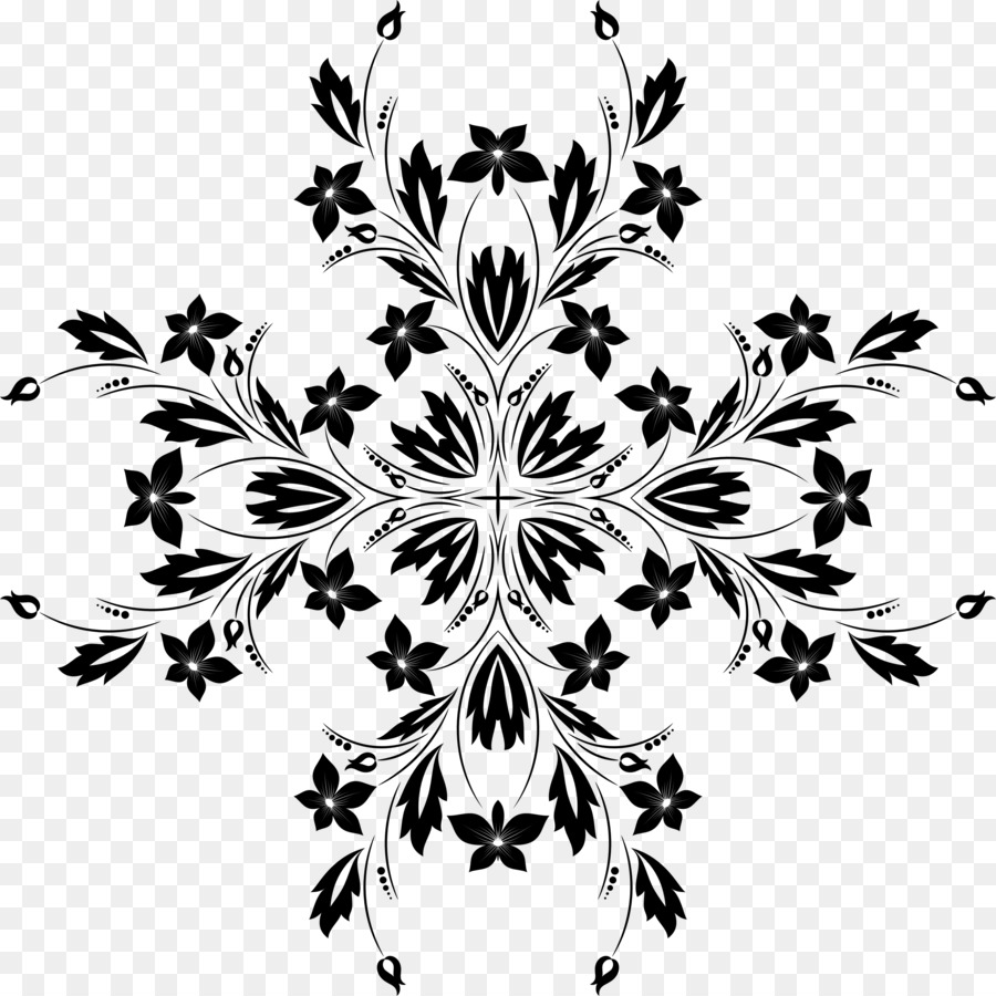 Black And White Flower Clip Art Flower Ornaments Png Download