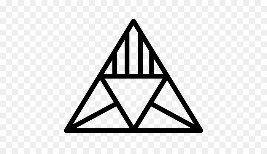 Triforce triangular logos. Black line background png