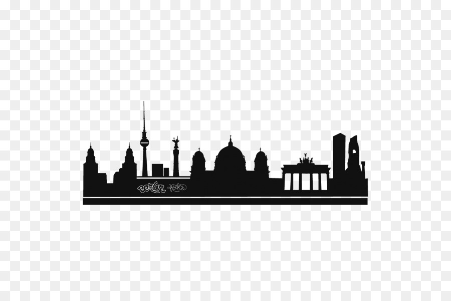 Silhouette city skyline phonograph record berlin wall decal