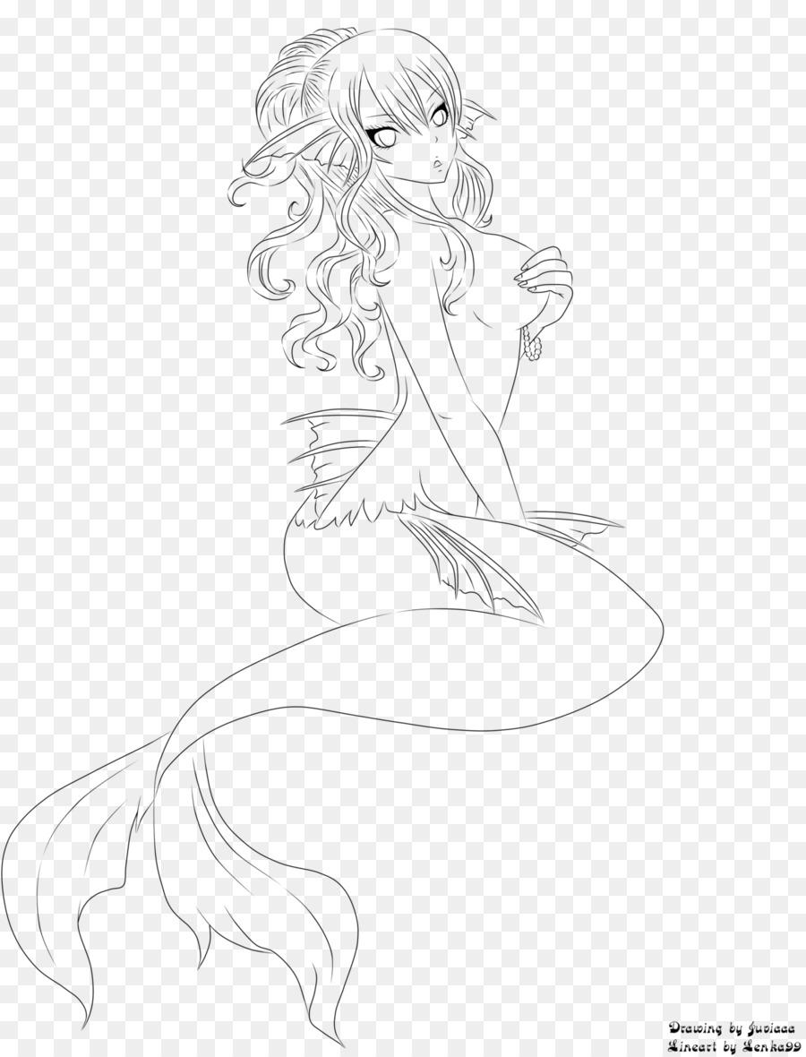 Line Art Drawing Mermaid Sketch   Mermaid Tail