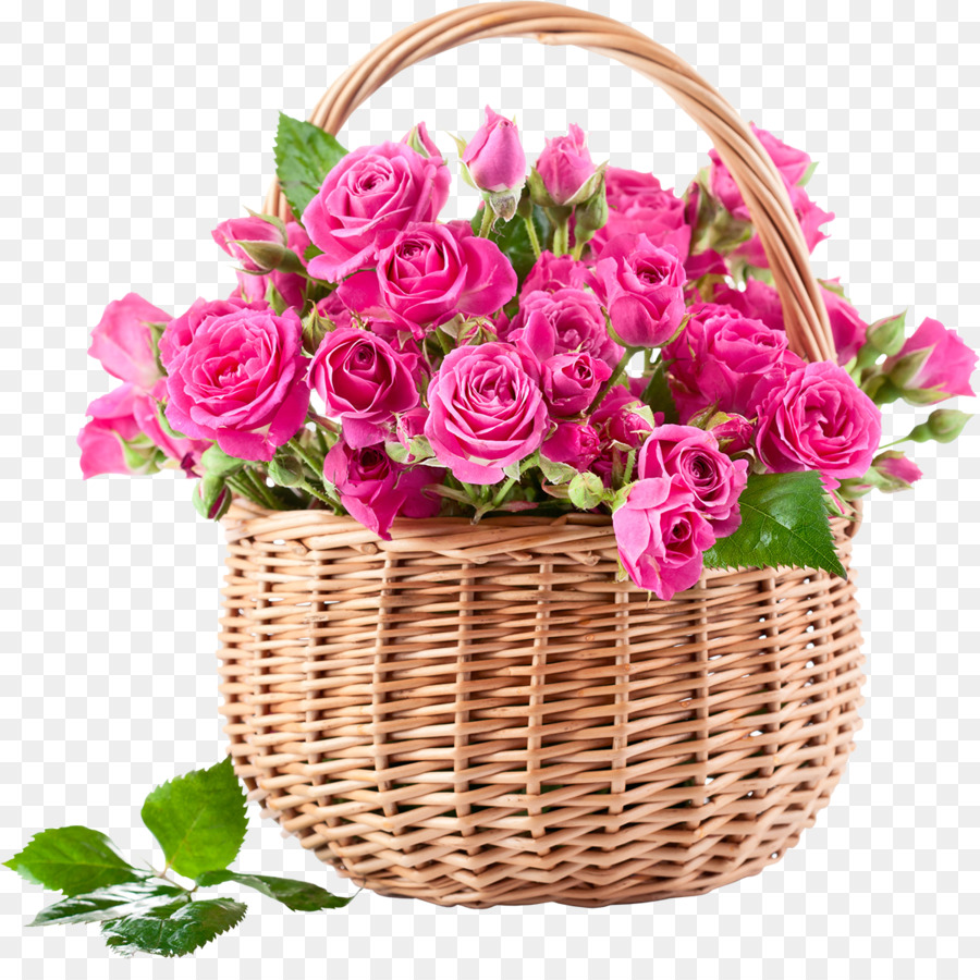 Rose Flower Bouquet Basket Pink Flowers Bouquet Of Flowers Png
