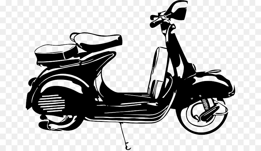 Motorized scooter retro style monochrome vespa