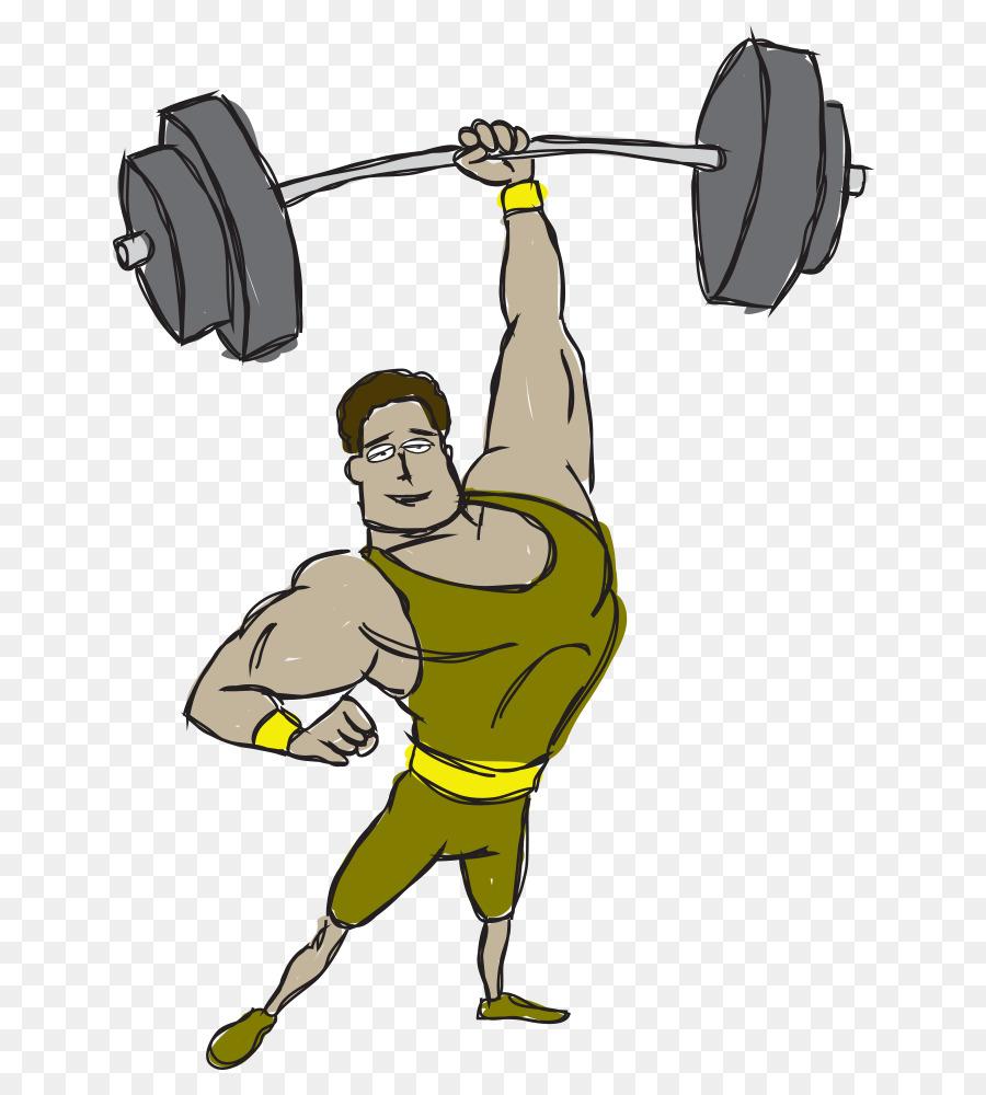 Dibujos animados Muscular Culturismo Barra de ejercicio Físico ...
