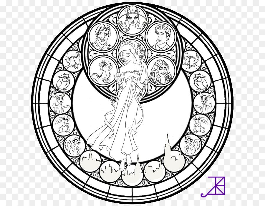 Coloring Book Mandala Stained Glass Megara Disney Princess