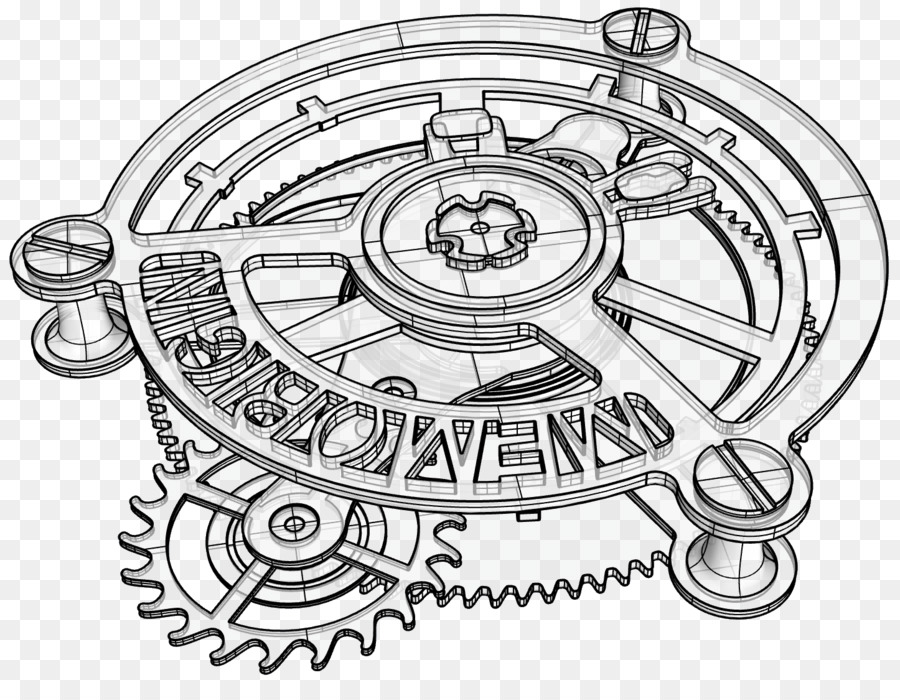 Line Drawing Clock : Pocket watch drawing tourbillon clock mechanical png