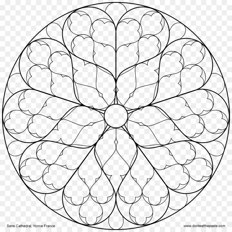 Rose Window Stained Glass Notre Dame De Paris Coloring Book Lg Png
