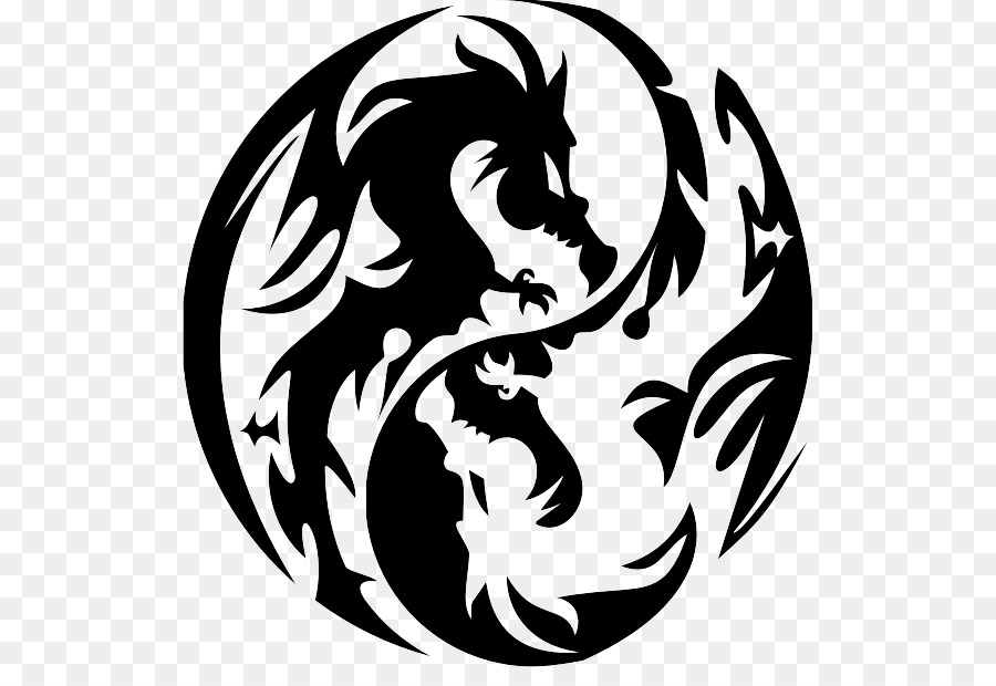 Chinese Dragon Japanese Dragon Stencil Yin Yang Png Download 569