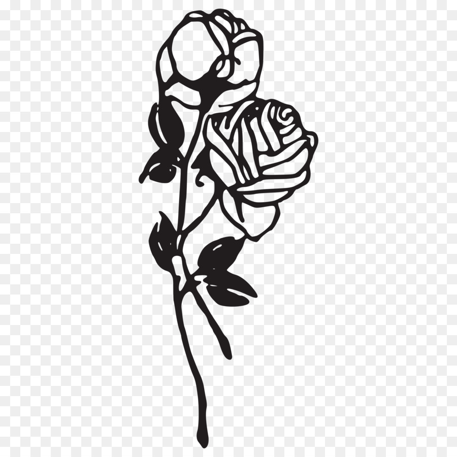 Black Rose Drawing Clip Art Rose Tattoo Png Download 2400 2400