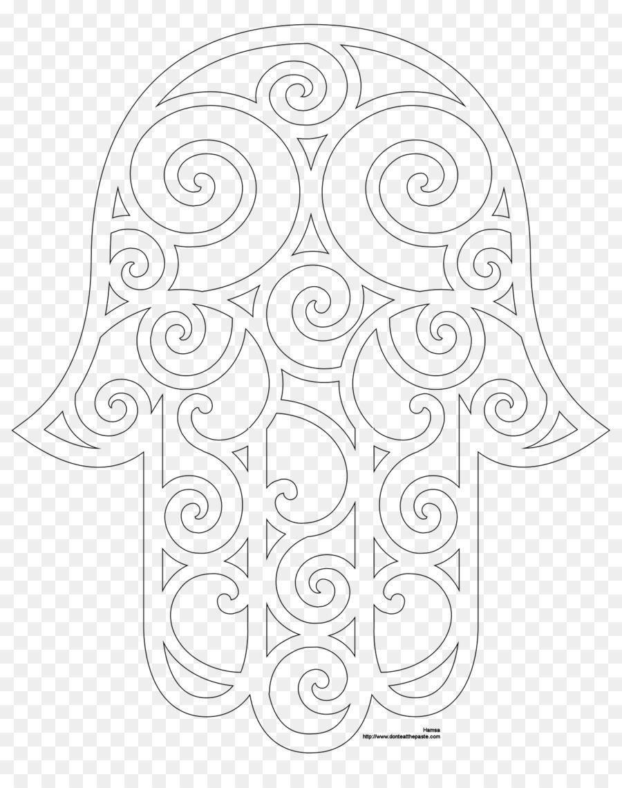 Hamsa Coloring Book Drawing Mandala Hand