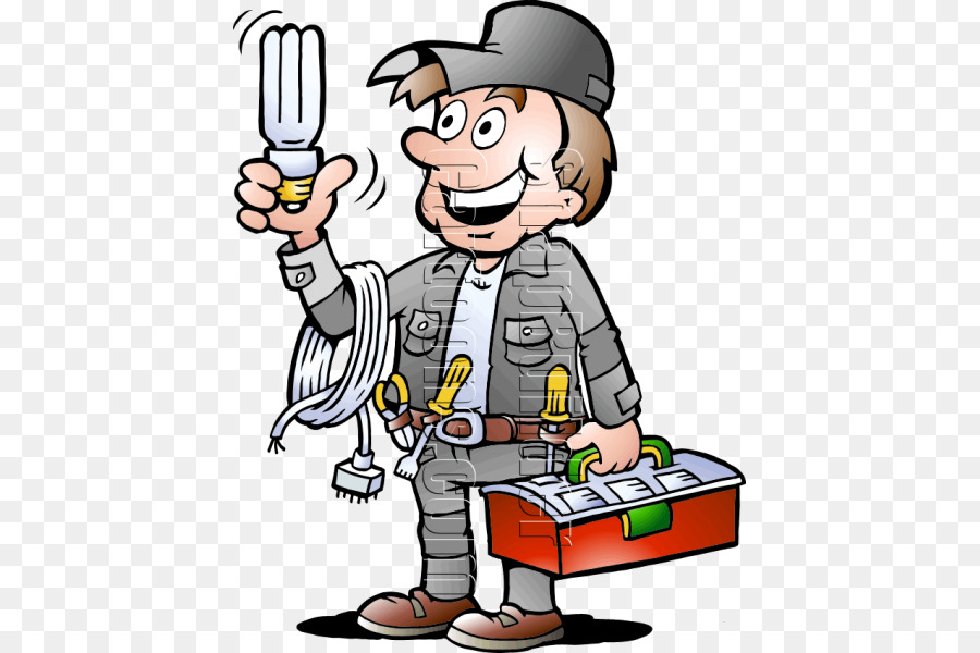 Electrician Electricity Cartoon Clip art - Cartoon character png ...