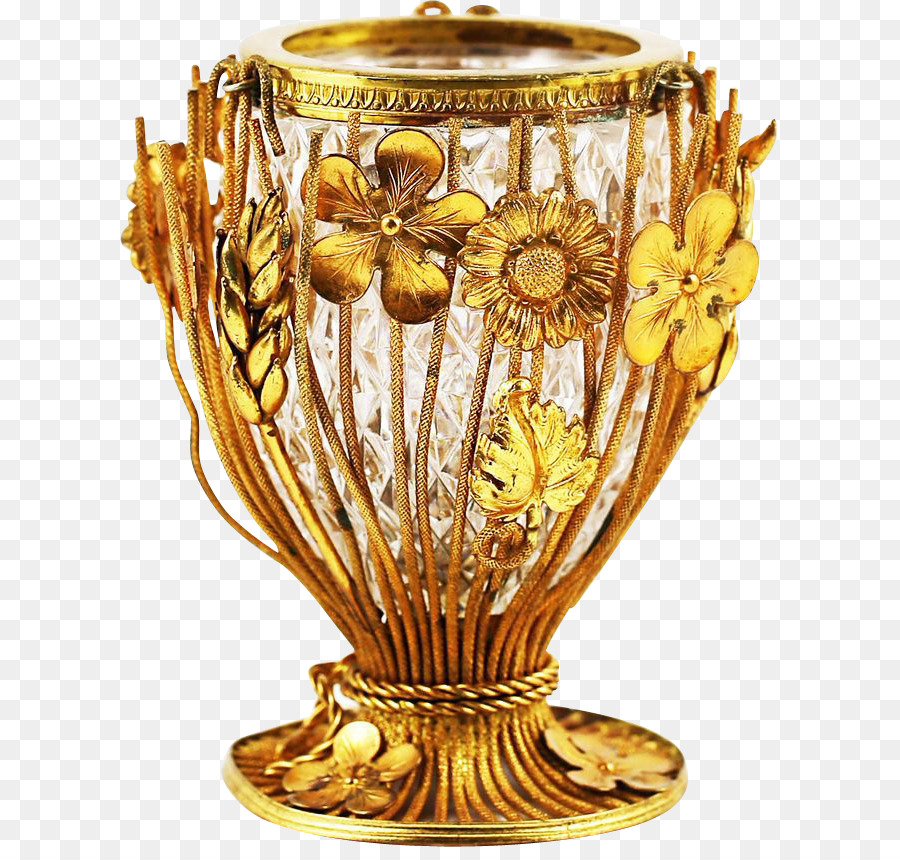 Lead Glass Vase Moser Johann Loetz Witwe Gold Floral Png Download