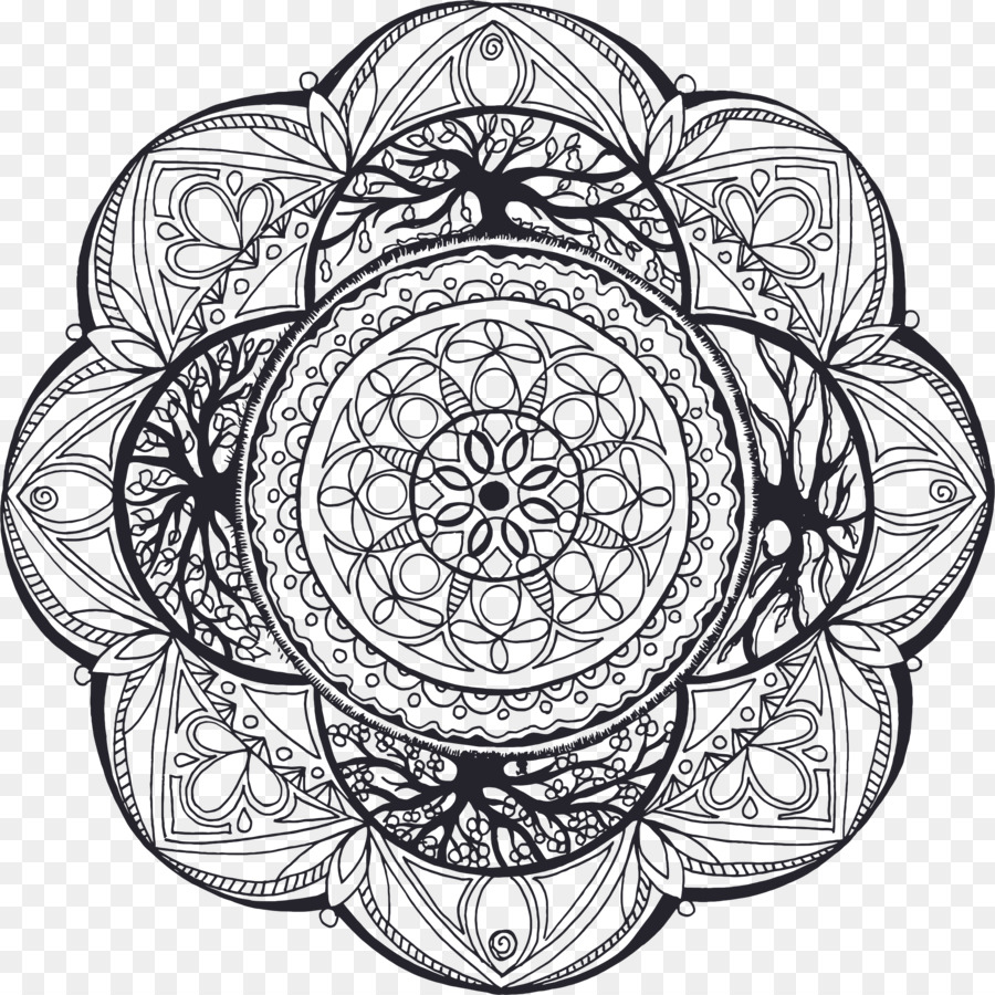 Mandala Drawing Coloring Book Symbol