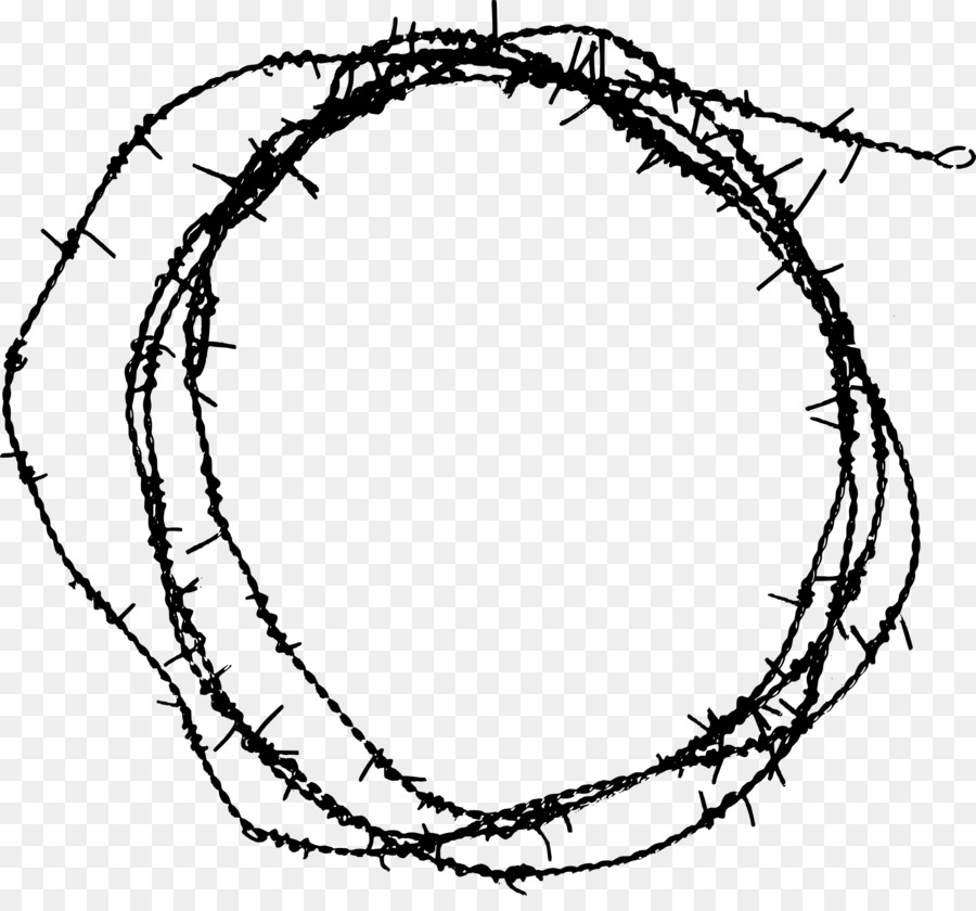 Barbed wire Circle Barbed tape Chain-link fencing - barbed wire png ...