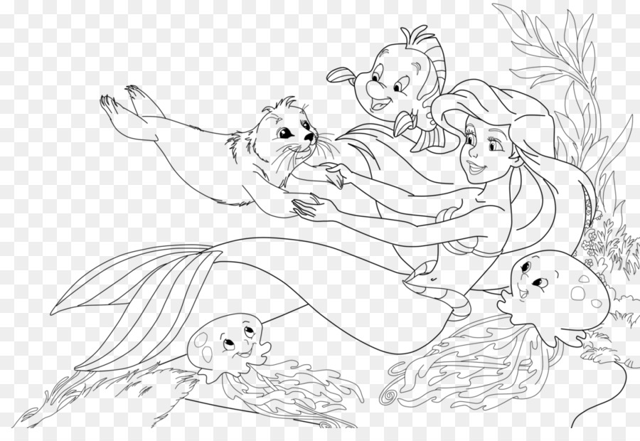 Ariel Mermaid Coloring Pages Coloring Book King Triton Mermaid Png