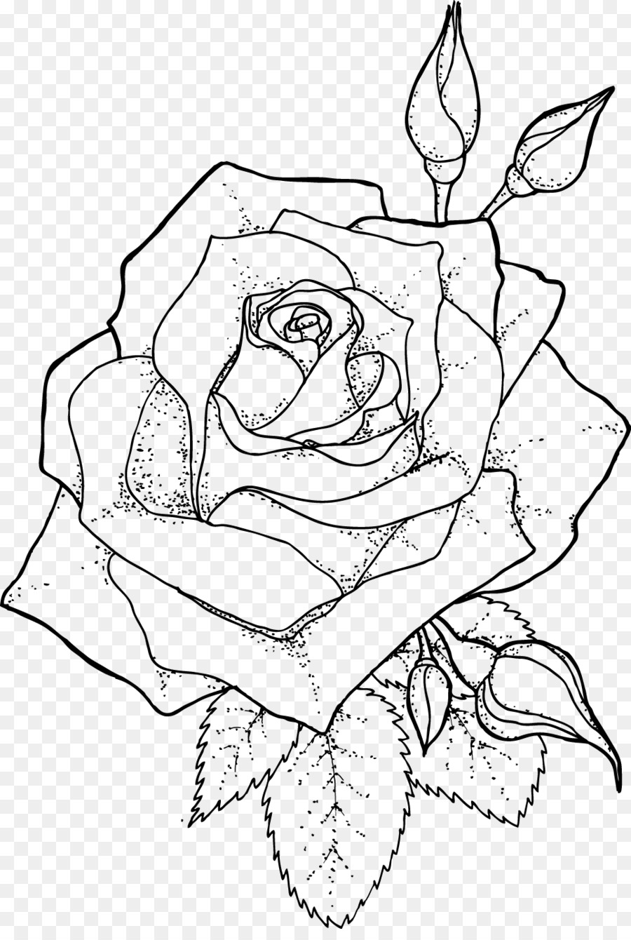 Drawing Line art Coloring book - rose outline png download - 963 ...