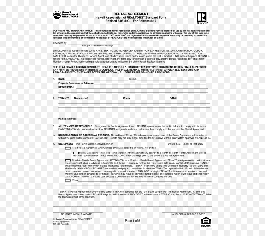 Rental Agreement Lease Contract Renting Form Rita Ora Png Download