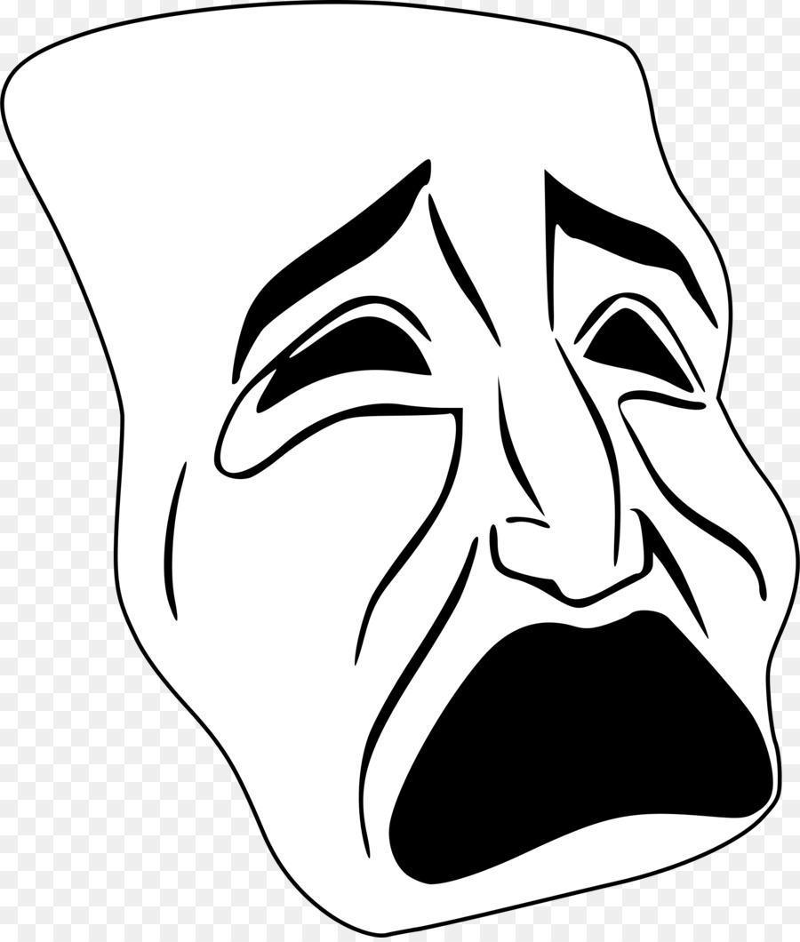 tragedy drawing drama clip art mask png download 2048 2400 rh kisspng com  drama masks clipart black and white