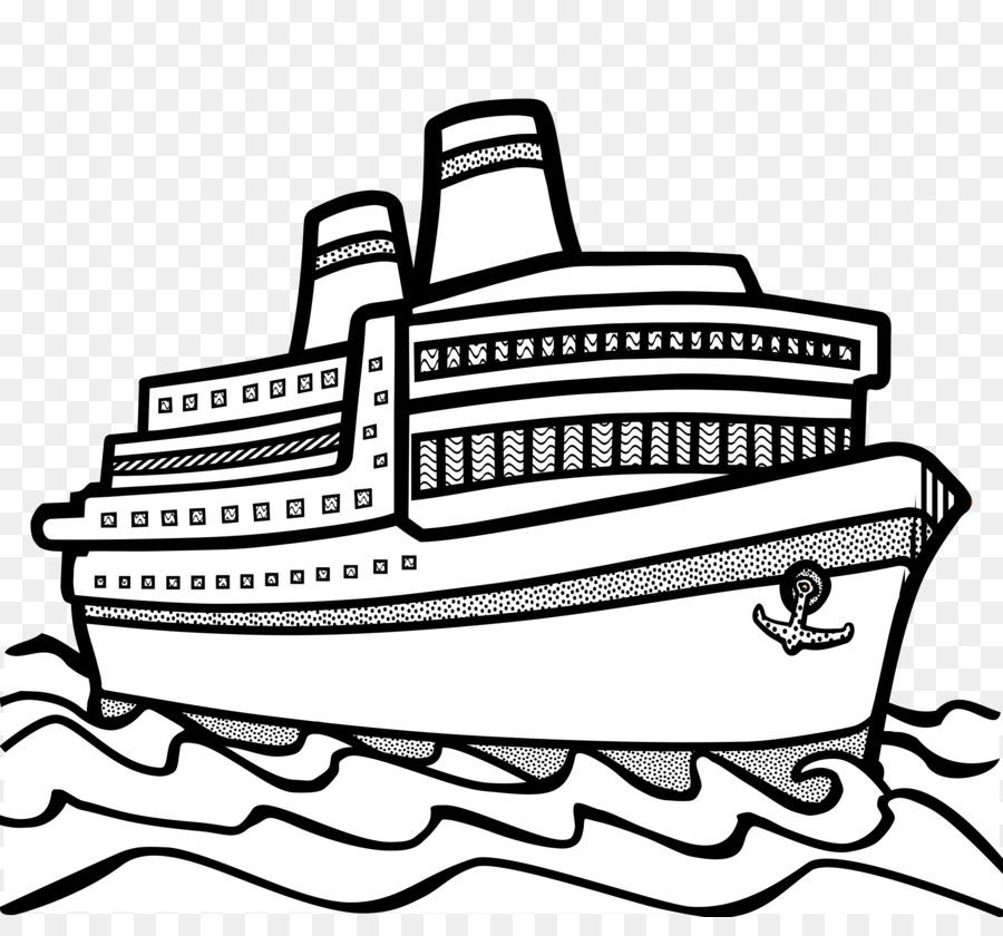 Ship Line Art Clip