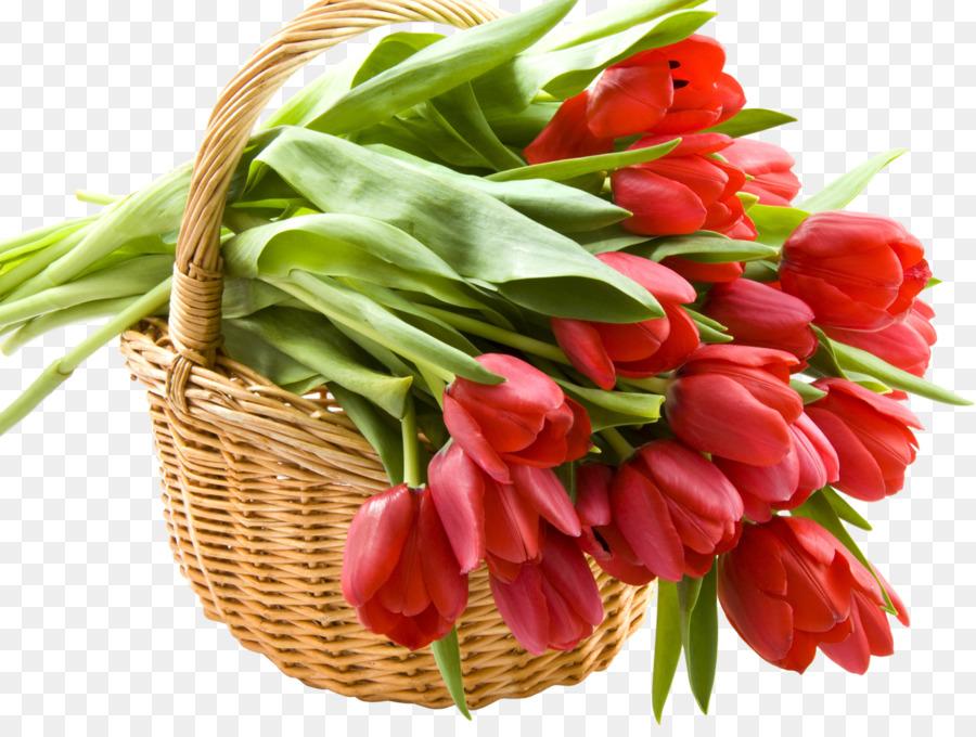 Cut flowers Basket Tulip Flower bouquet - good morning png download ...