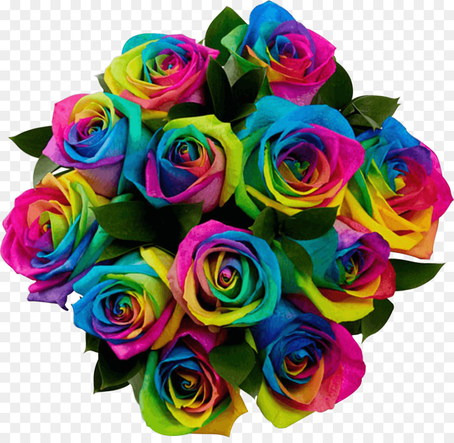 Rainbow rose Flower bouquet Floristry - gray flowers png download ...