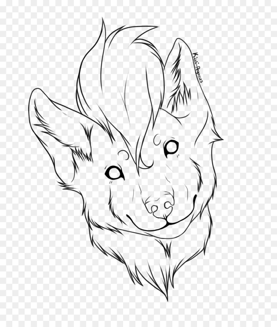Line Art Drawing Dog Head Shot Sketch Wolf Png Download 1024