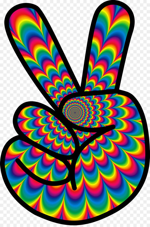 1960s Hippie Flower Power Clip Art Peace Sign Png