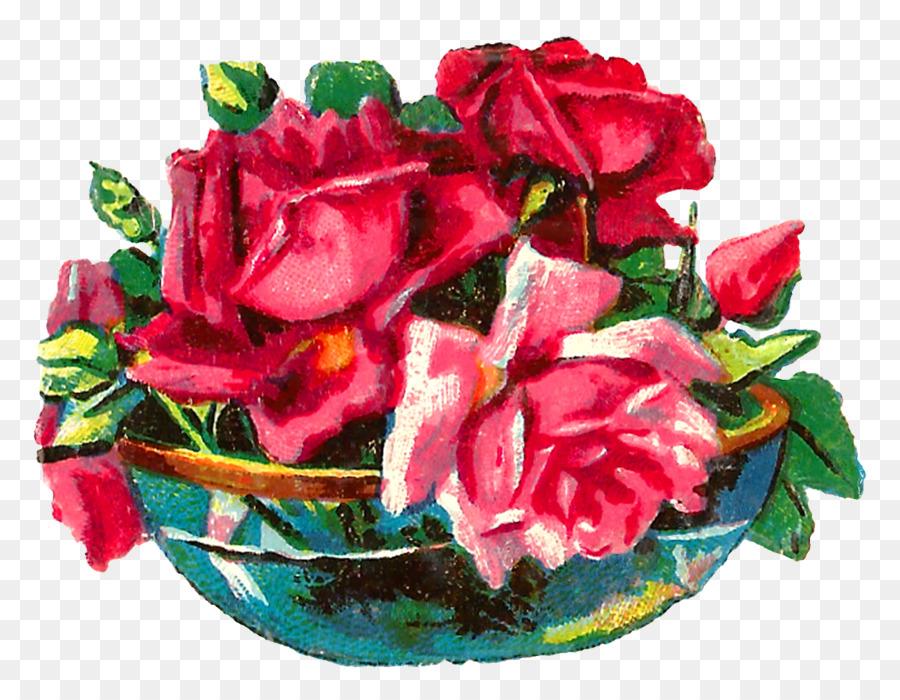 Garden Roses Cut Flowers Vase Clip Art Flower Vase Png Download