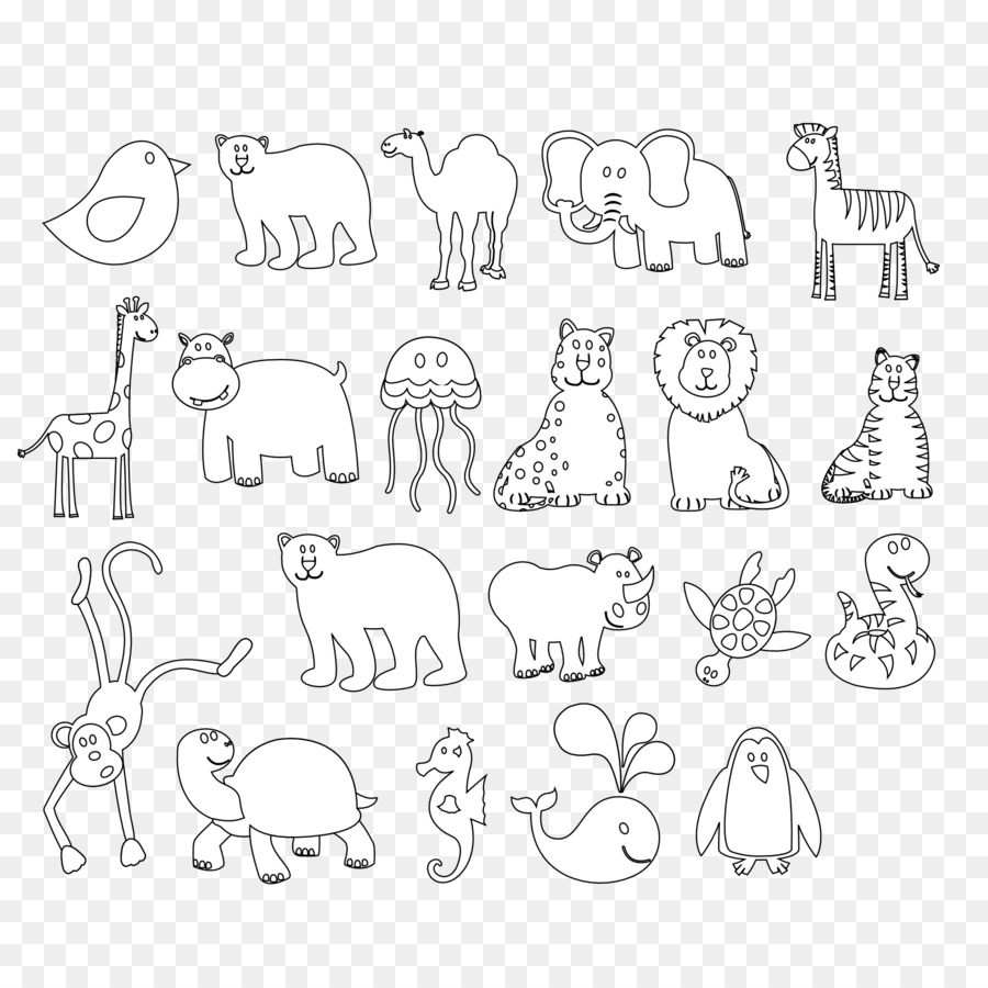 Coloring book Animals Black and White Colorful Animals Clip art ...