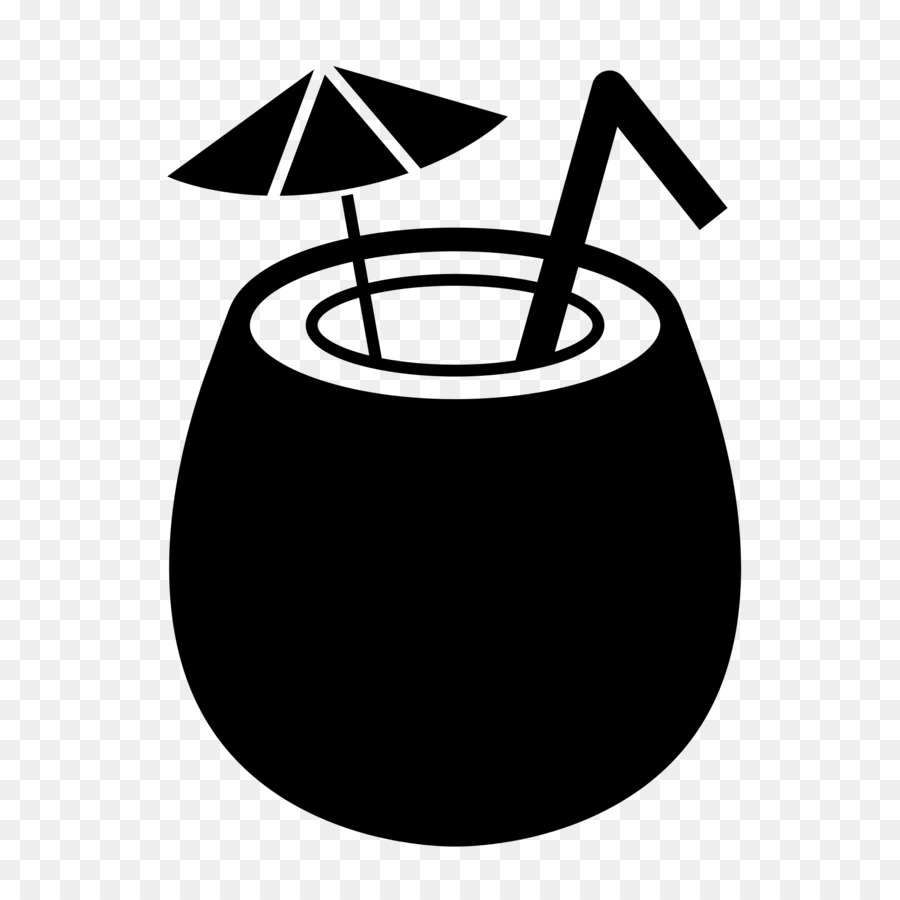 Coconut Water Milk Black And White Clip Art