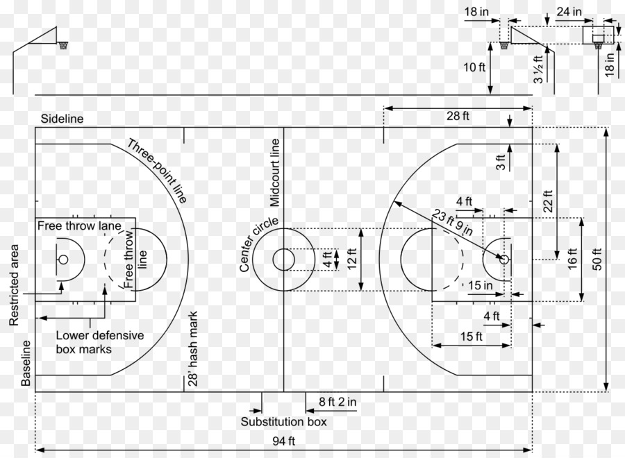 Basketball Court Diagram Nba Fiba Basketball Court Png Download