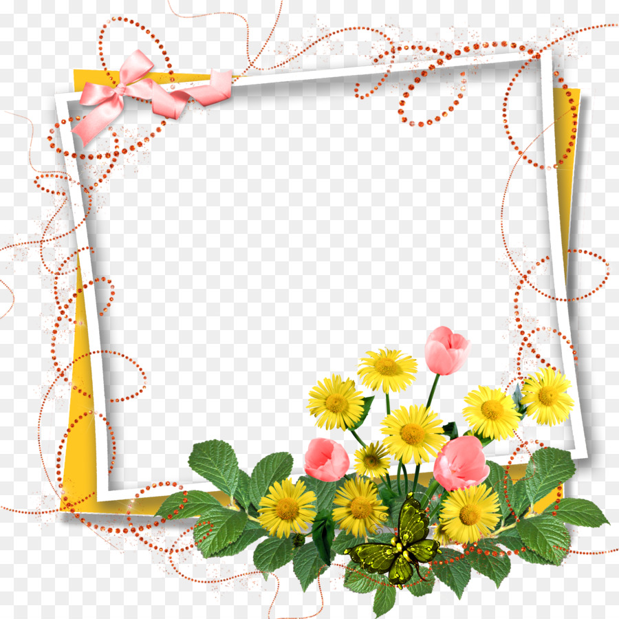 Greeting Note Cards Birthday Clip Art Flower Frame Png Download