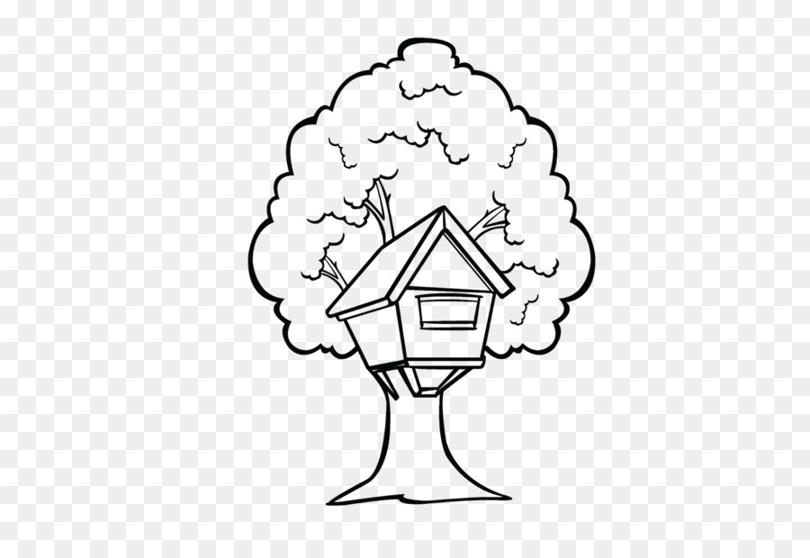 Tree House Black And White Clip Art
