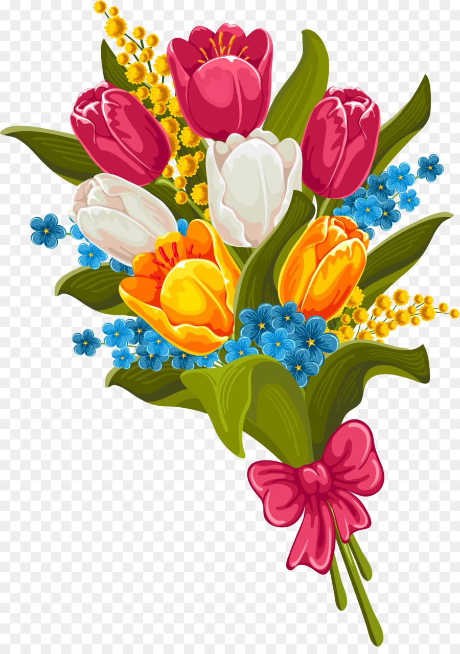 Flower Bouquet Clip Art Tulip Png Download 26183683 Free