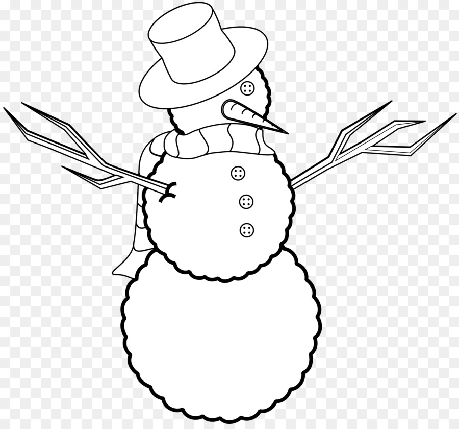 Christmas Snowman Black And White Clip Art