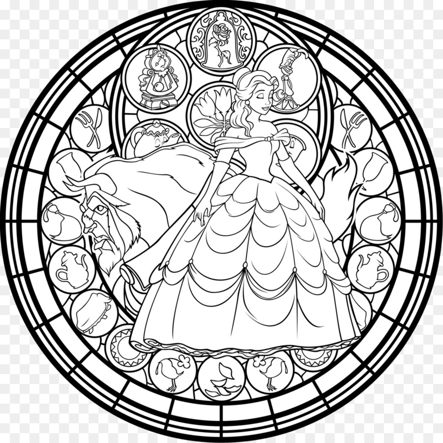 Window Stained glass Coloring book Belle - beauty and the beast png ...