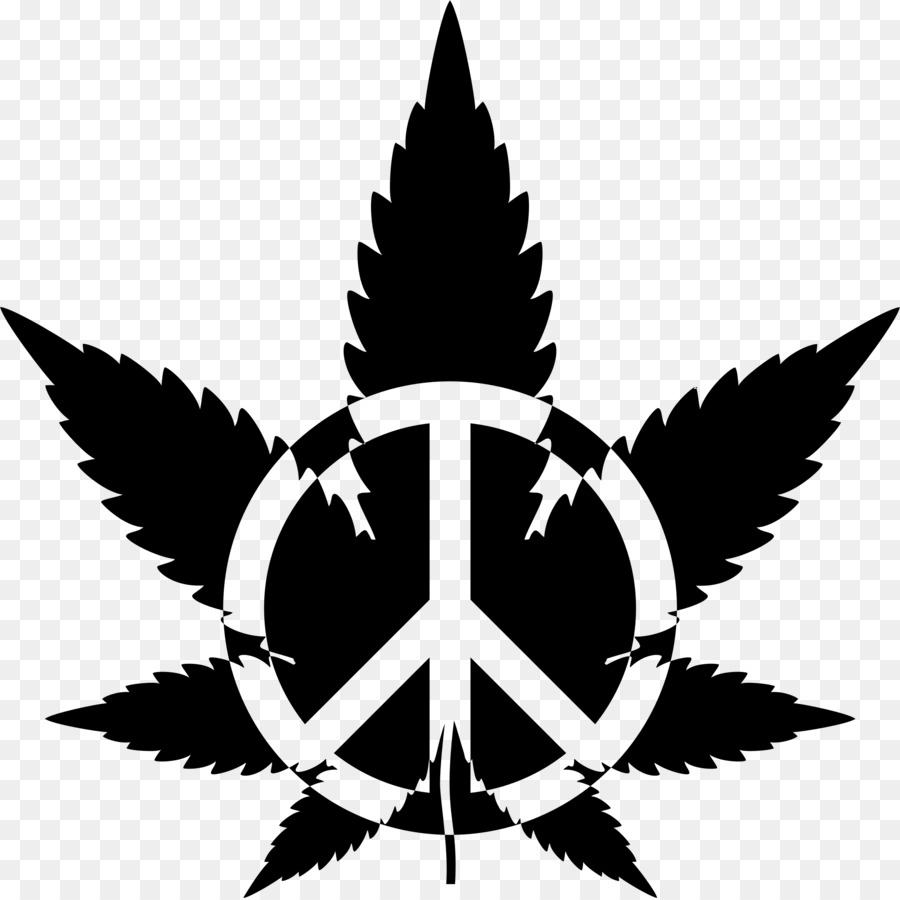 Cannabis Drawing Silhouette Clip Art Peace Symbol Png Download