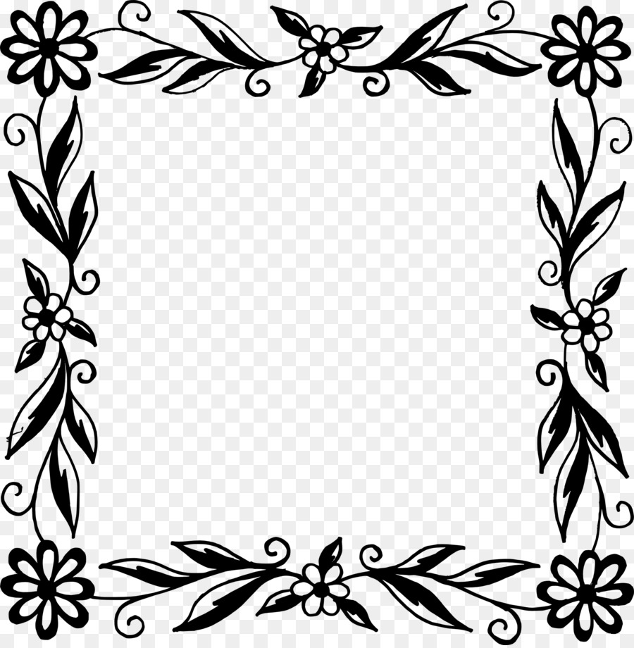 Flower Black And White Picture Frames Flower Frame Png Download