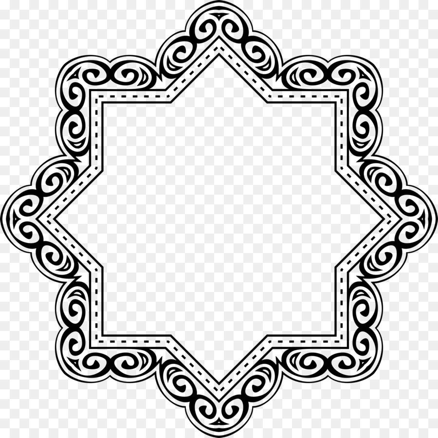 Islamic geometric patterns Symbols of Islam - black frame png ...