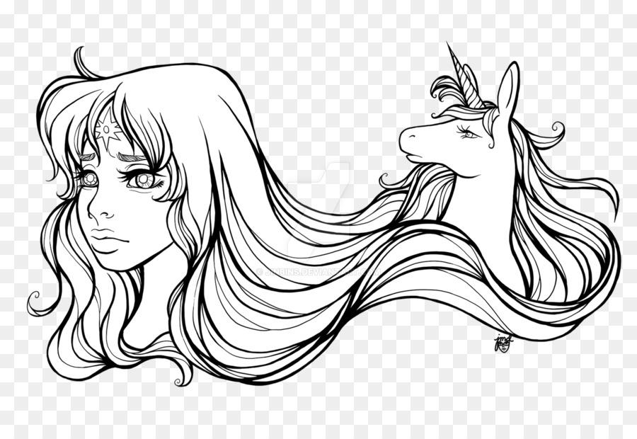 Arte de línea de Dibujo de Unicornio para Colorear libro - unicornio ...