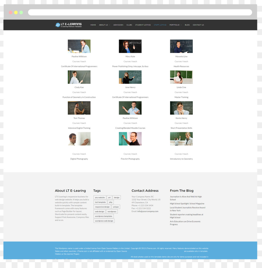 Responsive web design Web page Education Template Moodle - e ...