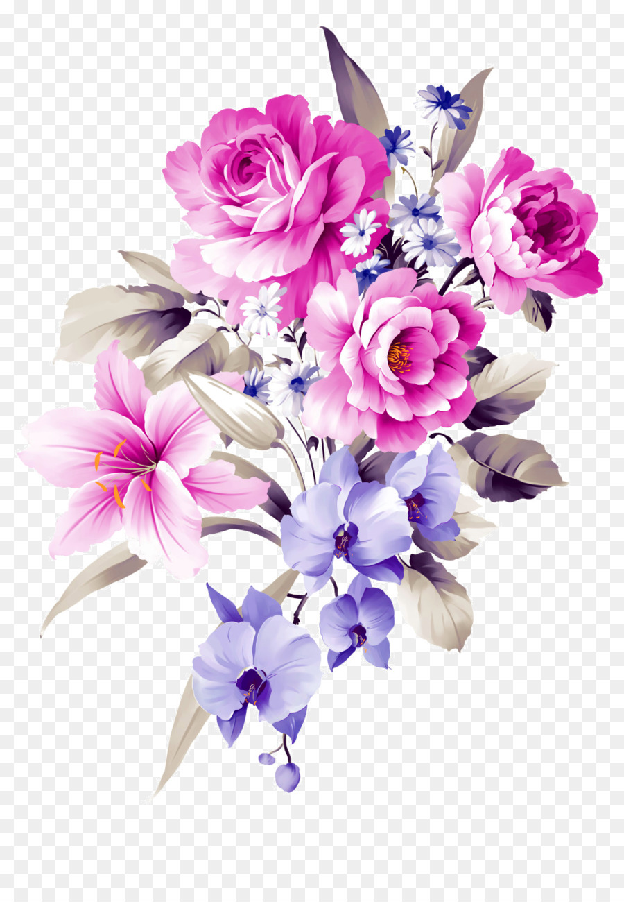 Flower Bouquet Purple Clip Art Water Color Flowers Png Download