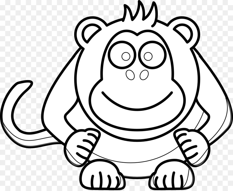Drawing Black And White Monkey Clip Art   Cartoon Computer