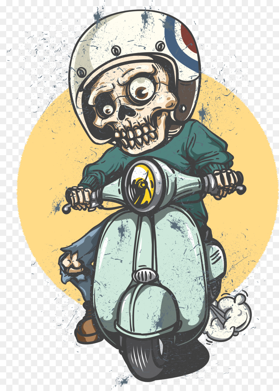Scooter car vespa decal sticker ghost rider