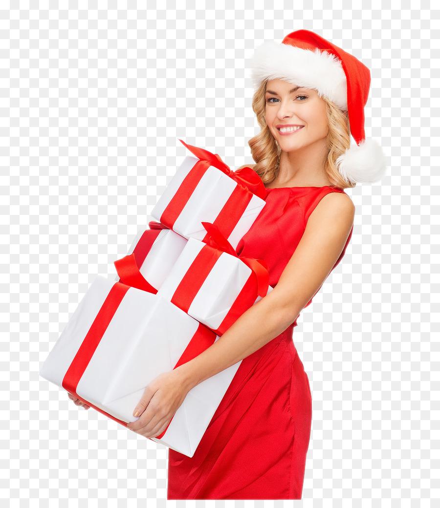 Geschenke Weihnachten Frau.Santa Claus Geschenk Weihnachten Frau Mit Hut Frau Png