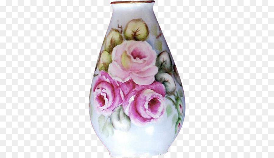 Vase Garden Roses Plankenhammer Frosted Glass Watercolor Hand