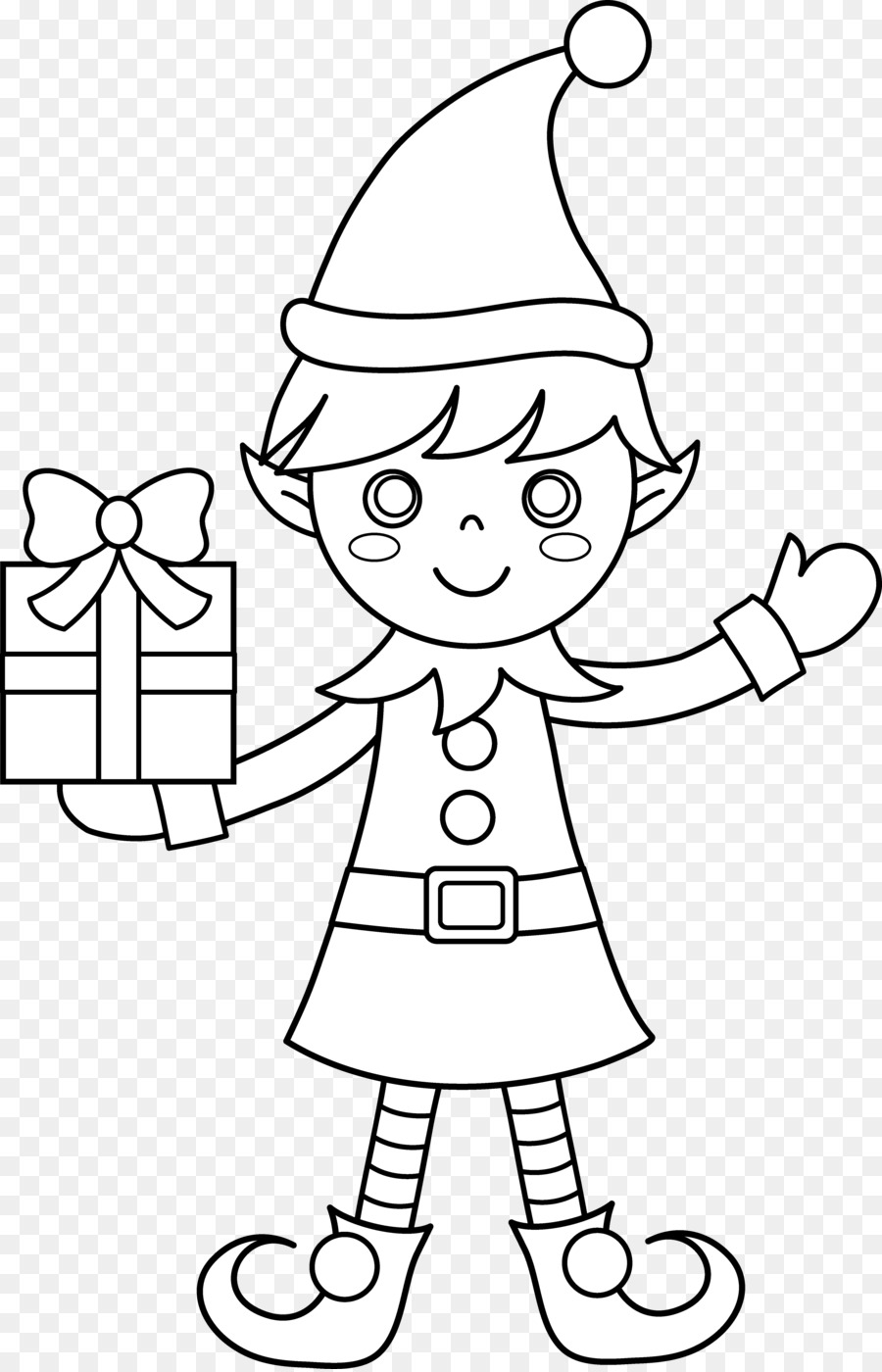the elf on the shelf santa claus christmas elf coloring book page clipart
